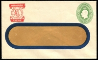 Lot 811 [1 of 2]:1928-37 1d Green KGV Oval BW #ES64 x2 for Medallion 'Custard Powders' or 'Saline', very fine unused. (2)