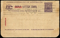 Lot 718 [1 of 2]:1917 1d Divided Reply Lettercards Reply Half in purple showing 'QUEEN'S GARDENS/PERTH, W A', BW #LC32 (108A), cancelled with Brisbane '29MAY17' machine cancel, addressed locally, edge blemish and a tad aged. Cat $200.