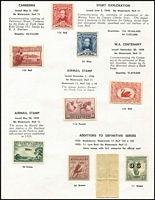 "Lot 189 [3 of 5]:1913-70 Mint Collection with Roos to 3rd Wmk £1 grey optd 'SPECIMEN' Type 'C' & CofA £2 optd 'SPECIMEN' Type 'D' including First Wmk 4d (toning) & 5d and Third Wmk 6d blue Die II perf 'OS', KGV Heads to Single Wmk 1/4d including 4d blue Thin 'FOUR PENCE', late state retouch BW #112(2)rb (Cat $1,000), 6d Engraved Kooka, KGV commems largely complete (ex 5/- Bridge) including 1/- Large Lyrebird imprint pair & Kingsford Smith 2d & 3d optd 'OS' (""as is"" but appear to be genuine), Robes set (10/- optd 'SPECIMEN'), Arms Set, BCOF set, Navigators set plus 10/- White paper; decimals include AAT 1966-68 Pictorial set, some condition issues, mostly fine. (100s)"