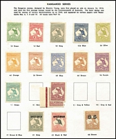 "Lot 189 [1 of 5]:1913-70 Mint Collection with Roos to 3rd Wmk £1 grey optd 'SPECIMEN' Type 'C' & CofA £2 optd 'SPECIMEN' Type 'D' including First Wmk 4d (toning) & 5d and Third Wmk 6d blue Die II perf 'OS', KGV Heads to Single Wmk 1/4d including 4d blue Thin 'FOUR PENCE', late state retouch BW #112(2)rb (Cat $1,000), 6d Engraved Kooka, KGV commems largely complete (ex 5/- Bridge) including 1/- Large Lyrebird imprint pair & Kingsford Smith 2d & 3d optd 'OS' (""as is"" but appear to be genuine), Robes set (10/- optd 'SPECIMEN'), Arms Set, BCOF set, Navigators set plus 10/- White paper; decimals include AAT 1966-68 Pictorial set, some condition issues, mostly fine. (100s)"