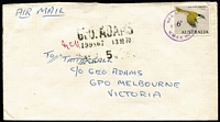 Lot 299:1966-68 6c Blue-Faced Honeyeater BW #449 solo franking tied by 1970 'MAIL OFFICE/HMAS HOBART' datestamp to Tatts cover.