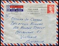 Lot 821:1966 4c Red QEII BW #439 use on 1966 (Nov 1) airmail cover from Terendak Garrison, Malacca, Malaysia, endorsed 'FORCES', stamp cancelled at Melbourne. Rare Concessional rate.