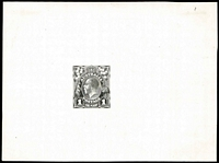 Lot 125:Perkins Bacon 1d KGV State 3 Die Proof (no endorsements) with King's nose straightened, in black on thin glazed card (125x94mm) BW #70DP(13)Ad, fine condition, Cat $12,500. Extremely rare.