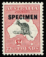 Lot 115:£2 Grey & Rose-Crimson Optd 'SPECIMEN' Type D variety Ewe-faced roo - State II [L10] BW #58x(V)fa, with additional Breaks in Roo's back, MLH Cat $8,000 (as an unoverprinted stamp).