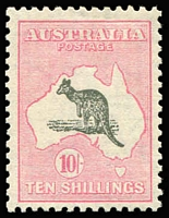 Lot 105:10/- Grey & Pale Pink BW #49, well centred, fine mint, Cat $1,100.