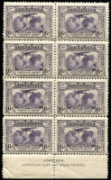 Lot 293:1931 Kingsford Smith 6d Violet John Ash imprint block of 8 with variety to Re-entry to 'T' of 'AUSTRALIA', 'FO' of 'FORD', and 'LD' of 'WORLD' [Pl1/45], fresh MUH, Cat $275.