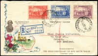 Lot 596:1937 NSW Sesquicentenary set BW #175-77, tied by Registered Sydney '1OC37' FD datestamp to Northern Stamp Co registered FDC with gorgeous multicoloured cachet, typed address to New Zealand. Small section flap missing & paper adhesion on revese.