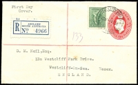 Lot 599:1938-57 4d Koala P13½x14 BW #197 tied by Adelaide Registered '1FE38' FD datestamp to 2d KGVI Postal Stationery Envelope BW #EP40 endorsed 'First Day/Cover', few mild spots. Unusual.