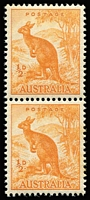 Lot 305 [2 of 2]:1938-66 ½d Dull Yellow-Orange Kangaroo Perf 14¾x14 No Wmk (the so-called 'Mellow-yellow') BW #180 Coil Perf pair, slightly browned gum, MUH. Only one sheet reported. Brusden-White Cert (1997).