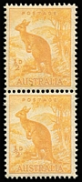 Lot 305 [1 of 2]:1938-66 ½d Dull Yellow-Orange Kangaroo Perf 14¾x14 No Wmk (the so-called 'Mellow-yellow') BW #180 Coil Perf pair, slightly browned gum, MUH. Only one sheet reported. Brusden-White Cert (1997).