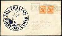 Lot 512:1938 ½d Kangaroo marginal pair on Smyth generic FDC, tied by Sydney 'INSTAL A TELEPHONE' slogan cancel, pencil-addressing in hand of Arthur Bergen.