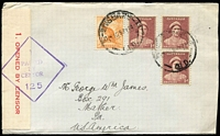 Lot 795:1941-43 1d Red-Brown QE BW #183 x3, and ½d Kangaroo, all from coil vending machines (characteristic sharp horizontal teeth) tied by Brisbane datestamps to 1944 (May 28) Censored cover to USA, correct rate, handwriting of Saville H Sheard, early philatelist.