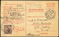 "Lot 493:1942 6d Kookaburra Wmk CofA Perf 14¾x14 BW #203 1950 (Aug 30) use on 'Advice of Delivery Card' from Sydney to Mukachevo, Russia (now Ukraine) endorsed ""via Czechoslovakia"", Mukachevo '25/9/51' arrival datestamp, returned to Sydney arriving back '22NO51'."
