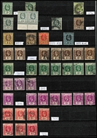 Lot 1733 [1 of 5]:1857-1970s Extensive Collection with earlies in mixed condition including QV imperf 1d x3, 2d x2, 5d & 1/- plus unused ½d (£190), QV perforated 1861-66 including 5d bronze-green & 6d red-brown SG #66c & 67c, Surcharges mint or used to 56c on 96c used, 1899-1900 1r50c & 2r25c used, KEVII 1904-05 set mint (plus extra 2r25c), 1910-11 5r mint, KGV 1912-25 20r fiscally used, KGV 1935-36 Pictorials to 50c x2 & 1r x2 mint, KGVI 1938-49 Pictorials mint to 1r x5, 2r black & carmine x5 & 5r x3, icluding many perf variants mint &/or used; earlies in mixed condition, thereafter mostly fine; some faulty stamps, fiscals and duplicated lower values included in vendor's spreadsheet catalogue evaluation of £5,000+. (1488)