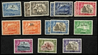Lot 5 [2 of 2]:Aden 1939-51 KGVI Mint with 1939-48 to 1r x2, 2r x2 5r x3 & 10r x2 with shade variances unlisted by Gibbons but recorded by Murray Payne, also 1951 Surcharges set; some duplicates, generally fine mint, Cat £350 approx.