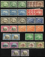 Lot 5 [1 of 2]:Aden 1939-51 KGVI Mint with 1939-48 to 1r x2, 2r x2 5r x3 & 10r x2 with shade variances unlisted by Gibbons but recorded by Murray Payne, also 1951 Surcharges set; some duplicates, generally fine mint, Cat £350 approx.