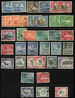 Lot 6 [1 of 2]:Aden 1939-63 Used Accumulation with KGVI 1939-48 to 2r x3, 5r x2 & 10r x2, 1951 Surcharges to 2/- on 2r, 1953-63 QEII to 5/- & 20/-. mostly fine. (87)