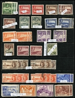 Lot 1 [3 of 5]:Antigua 1863-1970s Collection on Hagners with QV 1863-67 Wmk Small Star 1d dull rose used, 1876 Crown CC 1d scarlet P12½ Watermark inverted used & 1d lake-rose P14 unused, 1882 Crown CA 2½d red-brown x2 used, 1884-87 Crown CA 6d deep-green mint x2, KGV 1921-29 mint to 2/- x2, 2/6d & 5/- x2, 1932 Tercentenary mint to 1/-, 1938 KGVI mint 2/6d brown-purple, 2/6d maroon & 5/-, QEII incl 1953-62 $4.80 mint; QV issues in variable condition otherwise generally fine. Vendor's spreadsheet catalogue evaluation of £1,300+. (c.200)