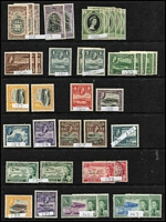 Lot 1 [1 of 5]:Antigua 1863-1970s Collection on Hagners with QV 1863-67 Wmk Small Star 1d dull rose used, 1876 Crown CC 1d scarlet P12½ Watermark inverted used & 1d lake-rose P14 unused, 1882 Crown CA 2½d red-brown x2 used, 1884-87 Crown CA 6d deep-green mint x2, KGV 1921-29 mint to 2/- x2, 2/6d & 5/- x2, 1932 Tercentenary mint to 1/-, 1938 KGVI mint 2/6d brown-purple, 2/6d maroon & 5/-, QEII incl 1953-62 $4.80 mint; QV issues in variable condition otherwise generally fine. Vendor's spreadsheet catalogue evaluation of £1,300+. (c.200)