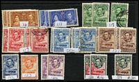 Lot 14 [3 of 4]:Bechuanaland 1885-1960s Array on Hagners with better items incl 1888 Tablets 1d x2 & 3d mint, 1/- green & black used x5, 1897 Overprints ½d Lines 10½mm Apart x2, 1904 KEVII mint 2½d x2 & 1/-, KGVI 1938-52 2/6d x2 & 10/- mint; few condition issues, mostly fine STC £630. (145)