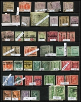 Lot 14 [1 of 4]:Bechuanaland 1885-1960s Array on Hagners with better items incl 1888 Tablets 1d x2 & 3d mint, 1/- green & black used x5, 1897 Overprints ½d Lines 10½mm Apart x2, 1904 KEVII mint 2½d x2 & 1/-, KGVI 1938-52 2/6d x2 & 10/- mint; few condition issues, mostly fine STC £630. (145)