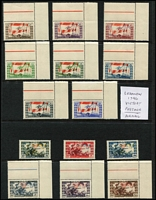 Lot 17 [3 of 4]:British Commonwealth 1946 Victory Omnibus largely complete mint & used, plus a second mint set reasonably complete, few extras including Hong Kong set in Plate 1 corner blocks of 4, and marginal blocks of 4 MUH, Lebanon 1946 set of 14 MUH, Basutoland, Bechuanaland, South Africa & SWA 1d blocks of 4 with Barbed wire flaw; generally fine. (few 100s)