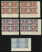 Lot 17 [1 of 4]:British Commonwealth 1946 Victory Omnibus largely complete mint & used, plus a second mint set reasonably complete, few extras including Hong Kong set in Plate 1 corner blocks of 4, and marginal blocks of 4 MUH, Lebanon 1946 set of 14 MUH, Basutoland, Bechuanaland, South Africa & SWA 1d blocks of 4 with Barbed wire flaw; generally fine. (few 100s)