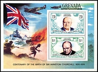 Lot 21 [2 of 7]:British Commonwealth 1974 Churchill Omnibus with MUH sets & M/Ss x20+ plus a few used oddments, generally very fine condition. (110 + M/Ss)