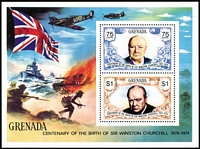 Lot 21 [1 of 7]:British Commonwealth 1974 Churchill Omnibus with MUH sets & M/Ss x20+ plus a few used oddments, generally very fine condition. (110 + M/Ss)