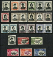 Lot 24 [2 of 4]:Brunei 1907-70s fragmentary array on Hagners predominantly used with 1907-10 Views MCA 1c to 4c, 8c, 25c, 30c & 50c, 1924-37 Script CA 12c to 50c, later issues to $2, condition generally fine. (130)