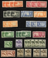 Lot 29 [2 of 5]:Caymans 1900-50 Array mostly mint on Hagners including 1900 QV ½d x2, KEVII MCA 1/- orange x2 (one used), 1907-09 5/-, KGV 1935 Pictorials to 2/- used, KGVI 1938-48 Pictorials to 2/- yellow-green x2, 2/- deep green x3, 5/- x2 & 10/- x4, used to 5/- x2 & 10/- x3 including 3d orange half-sheet of 30 with per favour cancels, generally fine.