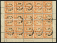 Lot 29 [3 of 5]:Caymans 1900-50 Array mostly mint on Hagners including 1900 QV ½d x2, KEVII MCA 1/- orange x2 (one used), 1907-09 5/-, KGV 1935 Pictorials to 2/- used, KGVI 1938-48 Pictorials to 2/- yellow-green x2, 2/- deep green x3, 5/- x2 & 10/- x4, used to 5/- x2 & 10/- x3 including 3d orange half-sheet of 30 with per favour cancels, generally fine.