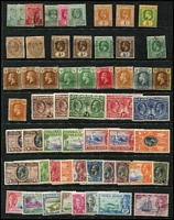 Lot 29 [1 of 5]:Caymans 1900-50 Array mostly mint on Hagners including 1900 QV ½d x2, KEVII MCA 1/- orange x2 (one used), 1907-09 5/-, KGV 1935 Pictorials to 2/- used, KGVI 1938-48 Pictorials to 2/- yellow-green x2, 2/- deep green x3, 5/- x2 & 10/- x4, used to 5/- x2 & 10/- x3 including 3d orange half-sheet of 30 with per favour cancels, generally fine.