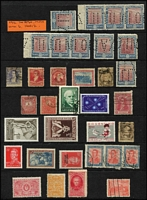 Lot 31 [1 of 3]:Central and South America all-eras array on Hagners & stocksheet with selections from Argentina (with multiples) including 1912 20p claret & blue Ploughman punctured x10 (including two strips of 3 MUH), Bolivia, Brazil, Chile, Colombia, Cuba, Haiti, Honduras, Paraguay, Peru, etc; mixed condition (especially earlies). Interesting lot. (100s)