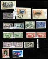 Lot 27 [2 of 4]:Falklands Valuable 1878-1960s Collection on Hagners, mostly mint with QV 1878-79 No Wmk 6d & 1/-, 1885-91 Crown CA Sideways 1d unused, 1891-1902 2½d blue shades x4, 6d orange-yellow SG #33 x4 (Cat £1,300) & 6d yellow, 9d x5 & 1/- x5, 1892 5/- (Cat £250), KEVII 1904-12 2d, 2½d & 6d, KGV Heads to 6d, 1935 Jubilee, KGVI 1938-50 Pictorials to fine used 2/6d, 5/- & 10/- (all on piece) plus £1, also useful Dependencies including KGVI overprint; most identified QV shades appear correct, though cannot be guaranteed, few condition issues, generally fine; STC £4,000+ (Vendor's spreadsheet included). (180+)