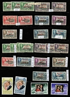 Lot 27 [3 of 4]:Falklands Valuable 1878-1960s Collection on Hagners, mostly mint with QV 1878-79 No Wmk 6d & 1/-, 1885-91 Crown CA Sideways 1d unused, 1891-1902 2½d blue shades x4, 6d orange-yellow SG #33 x4 (Cat £1,300) & 6d yellow, 9d x5 & 1/- x5, 1892 5/- (Cat £250), KEVII 1904-12 2d, 2½d & 6d, KGV Heads to 6d, 1935 Jubilee, KGVI 1938-50 Pictorials to fine used 2/6d, 5/- & 10/- (all on piece) plus £1, also useful Dependencies including KGVI overprint; most identified QV shades appear correct, though cannot be guaranteed, few condition issues, generally fine; STC £4,000+ (Vendor's spreadsheet included). (180+)