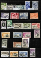 Lot 27 [1 of 4]:Falklands Valuable 1878-1960s Collection on Hagners, mostly mint with QV 1878-79 No Wmk 6d & 1/-, 1885-91 Crown CA Sideways 1d unused, 1891-1902 2½d blue shades x4, 6d orange-yellow SG #33 x4 (Cat £1,300) & 6d yellow, 9d x5 & 1/- x5, 1892 5/- (Cat £250), KEVII 1904-12 2d, 2½d & 6d, KGV Heads to 6d, 1935 Jubilee, KGVI 1938-50 Pictorials to fine used 2/6d, 5/- & 10/- (all on piece) plus £1, also useful Dependencies including KGVI overprint; most identified QV shades appear correct, though cannot be guaranteed, few condition issues, generally fine; STC £4,000+ (Vendor's spreadsheet included). (180+)