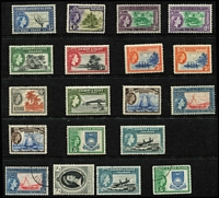 Lot 47 [3 of 4]:Gilbert & Ellice 1911-70s Collection on Hagners mint & used with 1911 Overprints 2d & 2½d on separate pieces with 1911 Butaritari datestamps, 1911 Pines set mint & used, KGV 1912-24 mint to 5/- plus 5/- used, KGVI 1939-55 to 5/- x2 mint with some Perf variants, and used to 5/-, QEII 1956-62 set mint, plus used 2/- to 10/-, plus few later issues, Cat £450+. (147)
