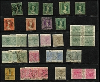 Lot 50 [3 of 4]:Grenada with 1861-74 QV Chalons 1d x5 & 6d x2, 1883 Tablets 6d & 8d plus ½d tête-bêche block of 4 mint, 1914-14 ¼d Red Cross label mint, 1898 2½d flagship x3 mint, KEVII 1902 Crown CA ½d to 2½d plus 1/- mint, 1908-11 Ships 3d to 2/- mint, KGV 1934-36 Pictorials set mint (ex 1/-), KGVI 1938-50 Pictorials used to 2/- x4, 5/- x2 & 10/- x4, 1951 set mint, etc, QV issues in variable condition, otherwise mostly fine. (250 approx)