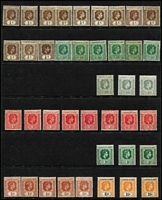 Lot 59 [3 of 3]:Leeward Islands 1938-51 KGVI mostly mint to 5/- x5 (one used), including Plate '2' pair, 10/- x3 including bluish green & deep red/green SG #113 (characteristic streaky gum) and £1 x7 (one used) including brown-purple & black/red SG #114 (characteristic streaky gum, Cat £375), low values include 2d grey Plate '2' block of 4, 1/- black & grey/emerald (MUH, Cat £130), etc; Cat £1,500+. (105)