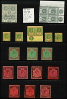 Lot 59 [1 of 3]:Leeward Islands 1938-51 KGVI mostly mint to 5/- x5 (one used), including Plate '2' pair, 10/- x3 including bluish green & deep red/green SG #113 (characteristic streaky gum) and £1 x7 (one used) including brown-purple & black/red SG #114 (characteristic streaky gum, Cat £375), low values include 2d grey Plate '2' block of 4, 1/- black & grey/emerald (MUH, Cat £130), etc; Cat £1,500+. (105)