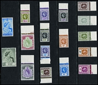 Lot 60:Leeward Islands 1954 QEII Keyplates ½c to $4.80 set very fine marginal MUH; also 1949 Silver Wedding MUH, Cat £67.