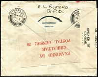 Lot 1358 [2 of 2]:1941 (Jan 1) cover bearing KGVI 3d pair to Hobart, airmail jusqu'a London, dual-censored Gibraltar (tape) and Hobart (tape tied by diamond handstamp). Attractive and unusual wartime origin/destination.
