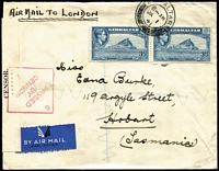 Lot 1358 [1 of 2]:1941 (Jan 1) cover bearing KGVI 3d pair to Hobart, airmail jusqu'a London, dual-censored Gibraltar (tape) and Hobart (tape tied by diamond handstamp). Attractive and unusual wartime origin/destination.