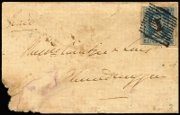 Lot 935 [1 of 2]:1854 (Nov 21) cover to Ahmednuggur with imperf ½a blue Die I (SG #2, complete margins) tied by '1' in diamond of 12 parallel lines cancel (Cooper #4), cover with some faults.