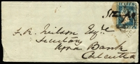 Lot 1380 [1 of 2]:1855 (Oct 2) petite cover from Choting to Calcutta with ½a greenish blue Die III (SG #9, negligible margins) tied by weak strike of Diamond of Dots cancel (Cooper #1) and by manuscript marking, on reverse Choting BO datestamp & 'GPO/1st DY' datestamp. Rare shade on cover.