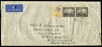 Lot 1665:1936 (Jun 13) commercial airmail cover to Brisbane bearing KGV 4½d and 1/- Harbour pair paying scarce 2/4½d per half oz airmail rate to Australia/NZ, Brisbane (Jun 25) backstamp.