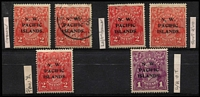 Lot 1533 [2 of 3]:1918-22 KGV Minor Varieties Selection on Single Wmk ½d x2 mint, 1d red x2 used, LMult ½d mint, New Colours Single Wmk 1d violet mint & 2d rose-scarlet mint x2 & used x3, mostly fine. (11)