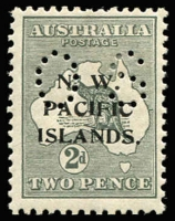 Lot 1283:1919-23 Kangaroos 3rd Wmk Perf 'OS': 2d grey SG #O6, nibbed perf, well centred, Cat £400.