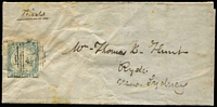 Lot 717:1850 (Jun 7) cover from Gundagai to Sydney with 2d Views Plate I SG #18 tied by weak BN '46' cancel, close but complete margins. Ex Forster.